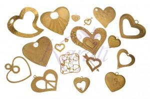 Dijes de corazon de pewter con chapa de oro para joyeria