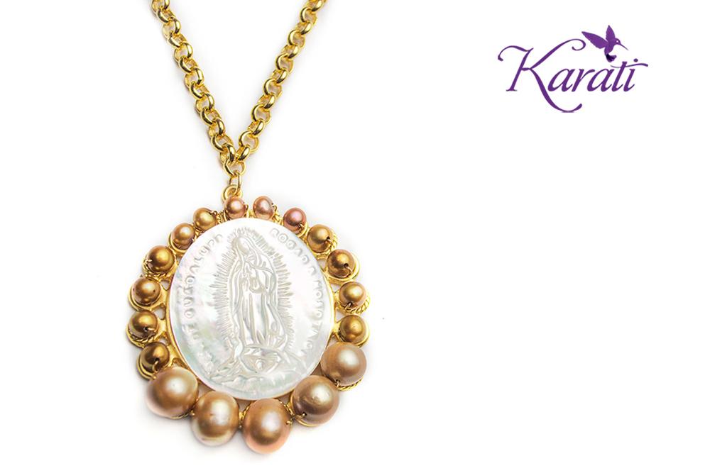 Collar Madre Perla Virgen de Guadalupe, Chapa de Oro
