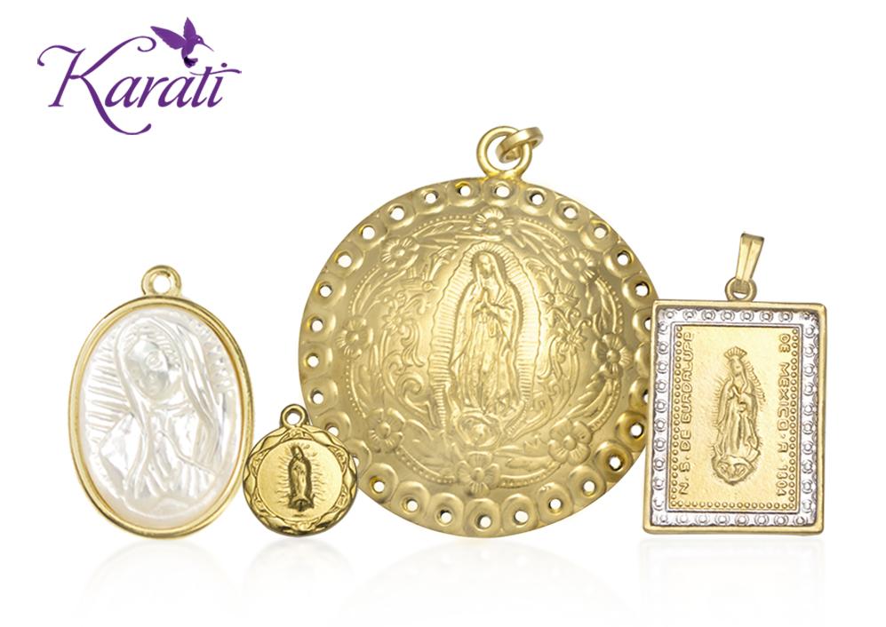 Medallas Virgen Chapa de Oro